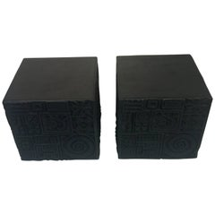 Pair of Adrian Pearsall Brutalist Black Cube Tables