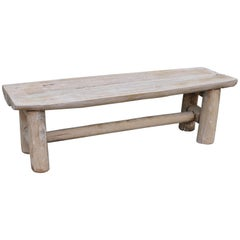 Rustic White Washed / Painted Hickory Bench