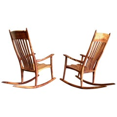 Studio Crafted Koa Wood Rocking Chairs by Stan Gollaher