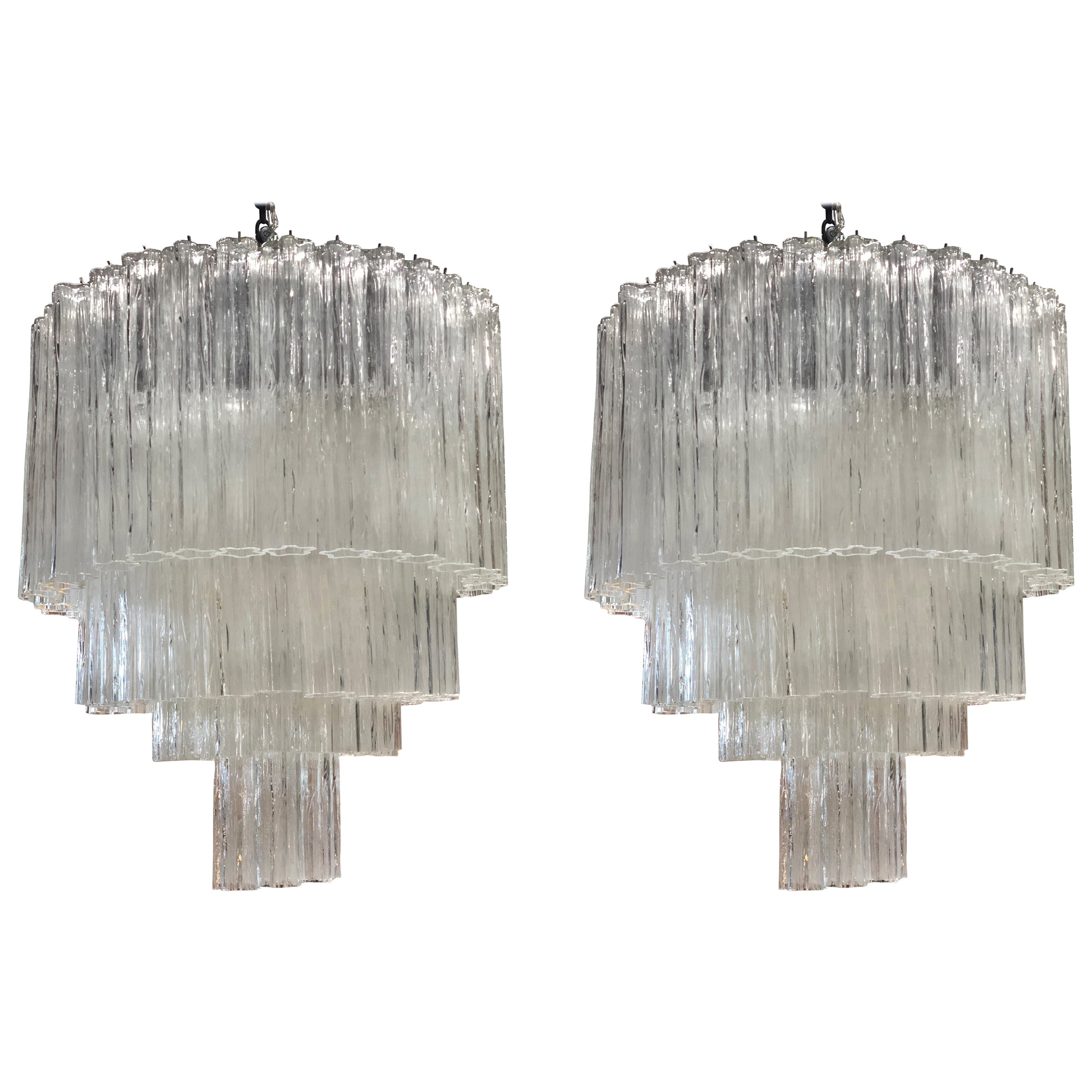 "Pair of Italian ""Tronchi"" Chandeliers Toni Zuccheri for Venini, 1960s"
