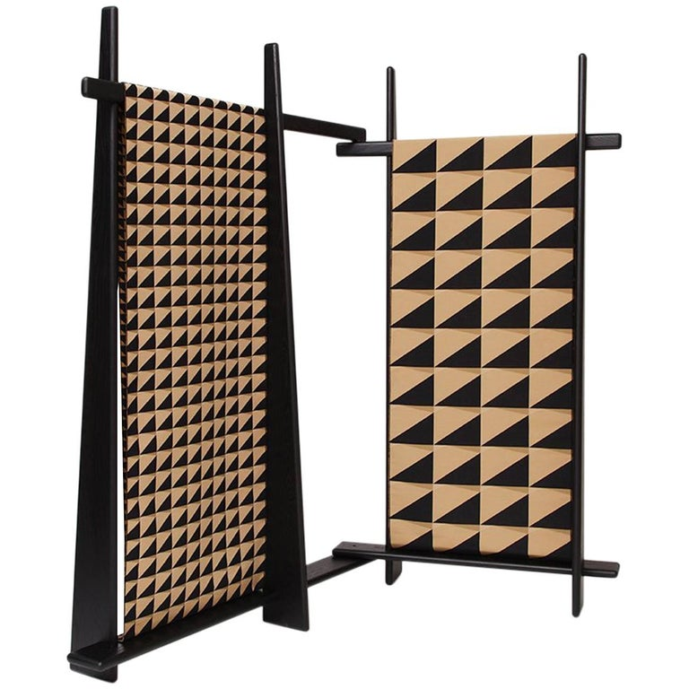 Depaysement Screen in Lacquered Ash and Woven Fabric by Vonnegut/Kraft for Weft For Sale