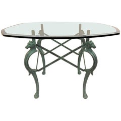 French Hand-Forged Patinated Iron Seahorse Table