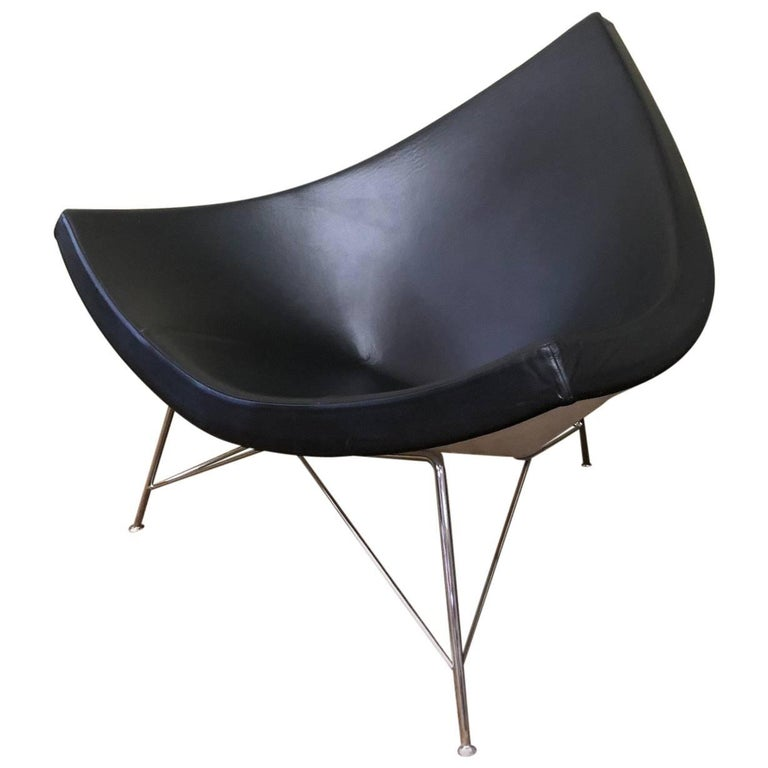 Black Leather and Chrome Coconut Chair by George Nelson for Herman Miller For Sale