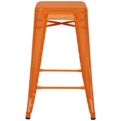 H Stool Perforated 65 in Orange by Chantal Andriot and Tolix