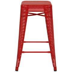 H Stool Perforated 65 in Red-Orange by Chantal Andriot and Tolix