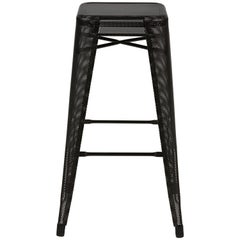 H Stool Perforated 75 in Black by Chantal Andriot & Tolix
