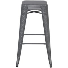 H Stool Perforated 75 in Grey by Chantal Andriot and Tolix