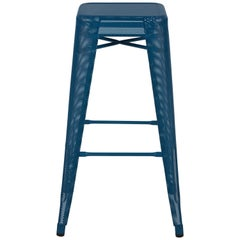 H Stool Perforated 75 in Ocean Blue by Chantal Andriot & Tolix