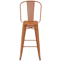 H Stool Perforated 75 with High Back in Terracotta by Chantal Andriot & Tolix