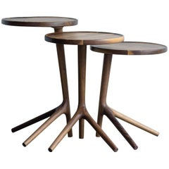 Tripod Table in Walnut, End Accent Nesting Tables for a Living Room