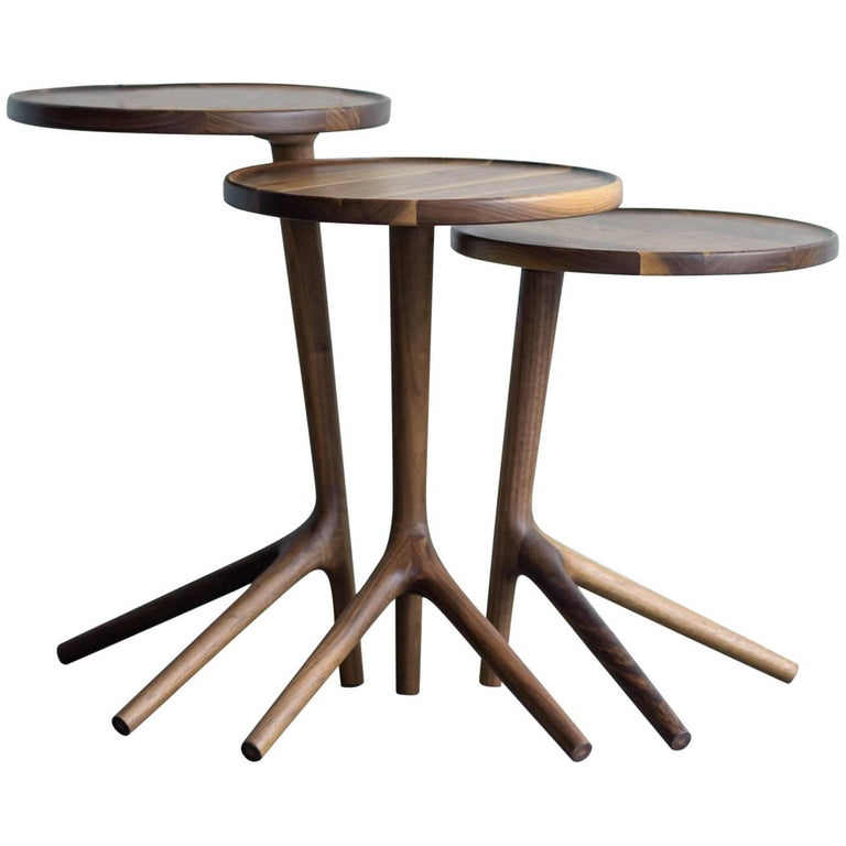 Tripod Table in Walnut, End Accent Nesting Tables for a Living Room For Sale