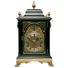 George III Gilt Brass-Mounted Ebonized Bracket Clock by John Ellicot