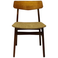 Dining Chair in Teak and Grey Wool Fabric of Danish Design, 1960s