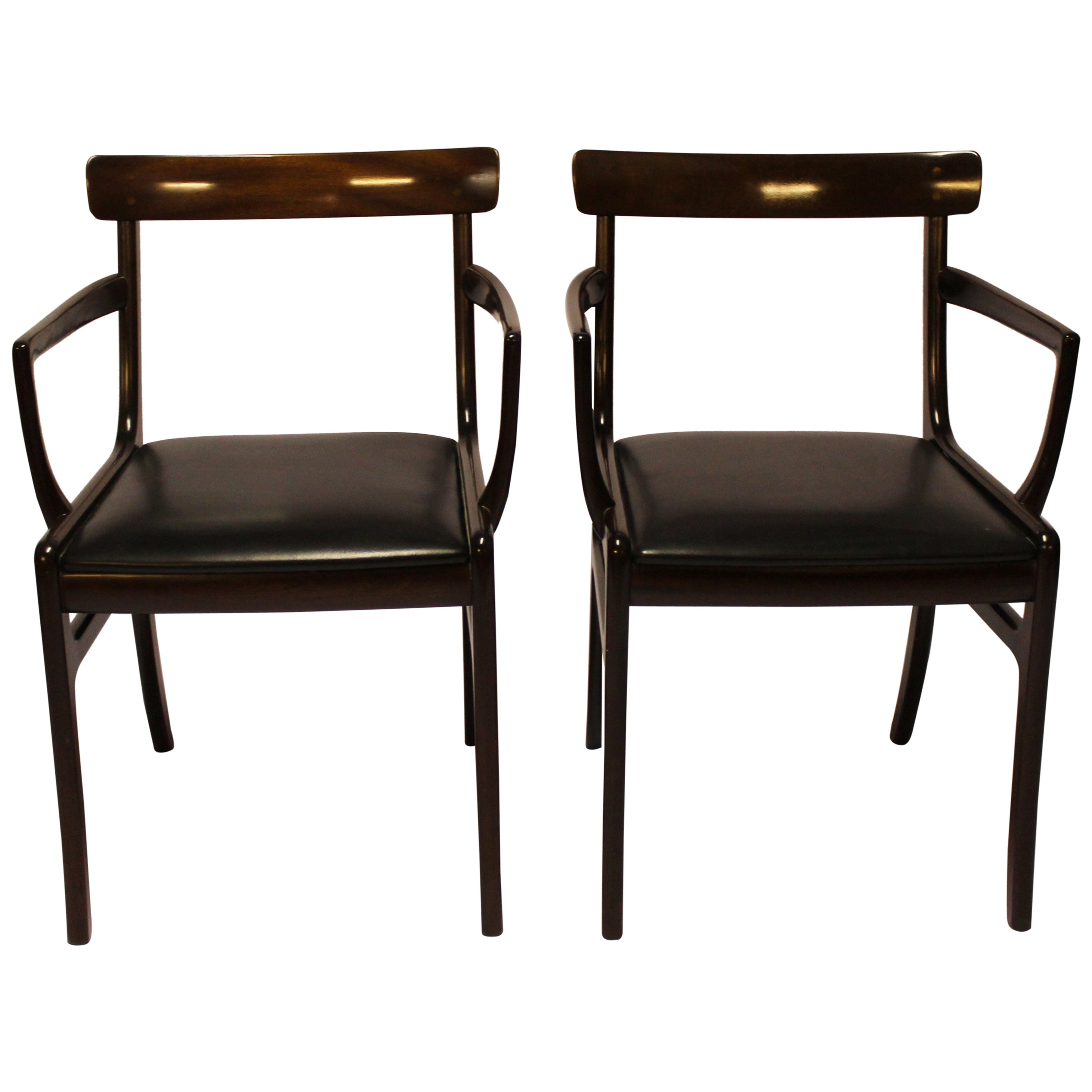 """Pair of """"Rungstedlund"""" Mahogany, Ole Wanscher and P. Jeppesen, 1960s"""