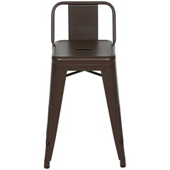 H Stool 55 with Low Back in Dark Chocolate by Tolix