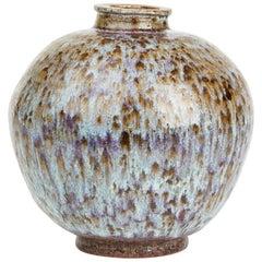 Studio Pottery Bulbous Streak Glazed Vase Signed, 20th Century