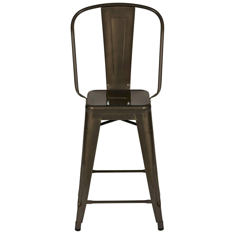 H Stool 60 with High Back in Steel with Tinted Lacquer by Tolix