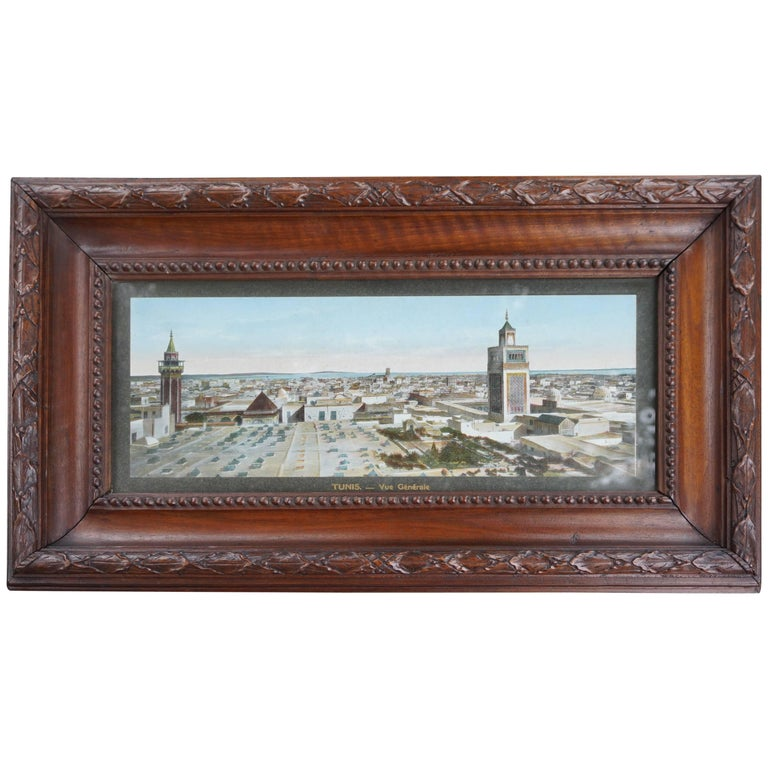 Antique & Unique French Colonial Walnut Picture Frame with Tunis Skyline Picture