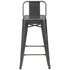 H Stool 65 with Low Back in Steel with Glossy Lacquer by Tolix