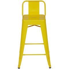 H Stool 65 with Low Back in Yellow by Tolix