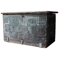 Rare Early 17th Century Iberian Painted and Gilt Decorated Chest, circa 1620