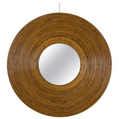 Round Wicker Mirror, France, 1960s