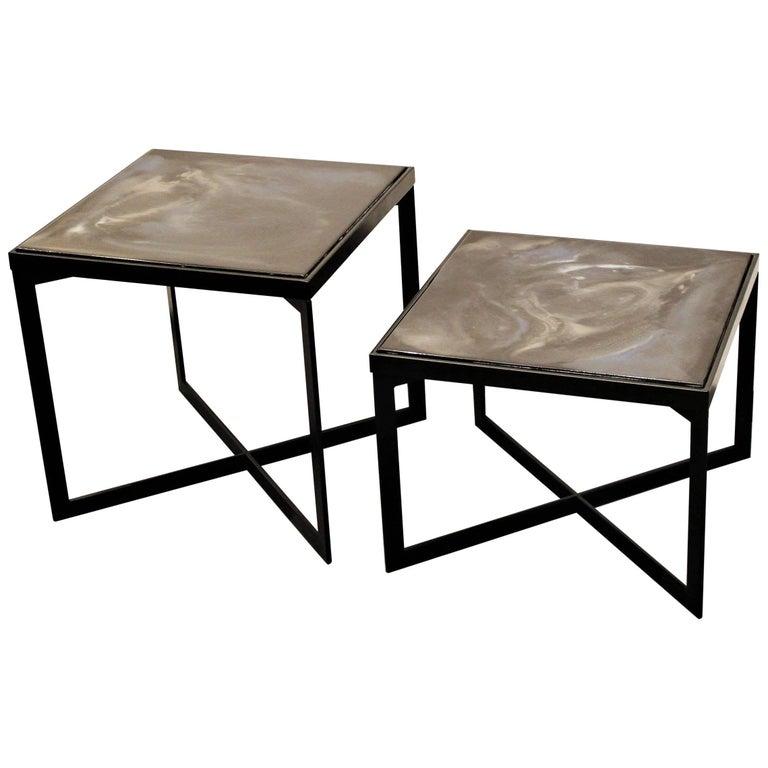 """Pair of Contemporary Resin Side Tables """"Black Velvet"""" on Black Steel Base"""