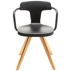 T14 Chair in Matte Black with Wood Legs by Patrick Norguet and Tolix