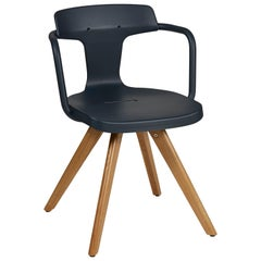 T14 Chair in Midnight Blue with Wood Legs by Patrick Norguet & Tolix