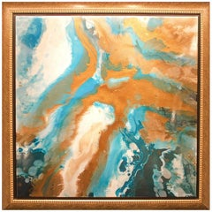 "Contemporary Abstract Resin Painting on Canvas ""Viscosity II"""