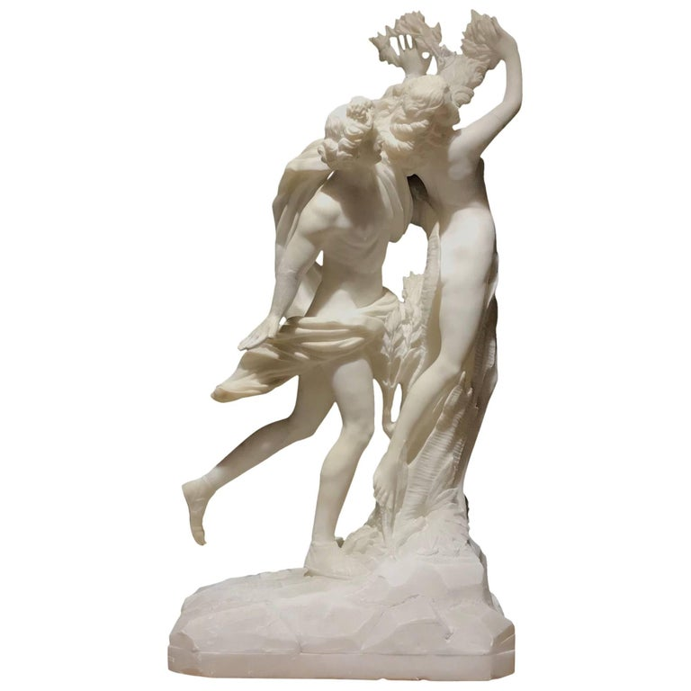 Sculpture Apollo and Dafne Italian White Alabaster 19th Century after Bernini