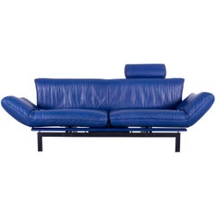 De Sede DS 140 Leather Sofa Blue Two-Seat Couch