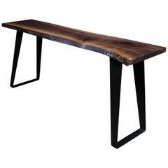 Thompson Console Table by Ambrozia, Live Edge Walnut, Hand-Blackened Steel Legs