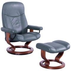 Ekornes Stressless Consul Armchair Set Green Leather Modern Recliner Chair