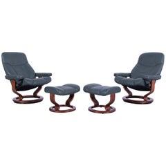 Ekornes Stressless Consul Armchair Two Set Green Leather Modern Recliner Chair
