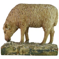 Provincial Early 19th Century Carved Grazing Sheep Retaining Original Paint