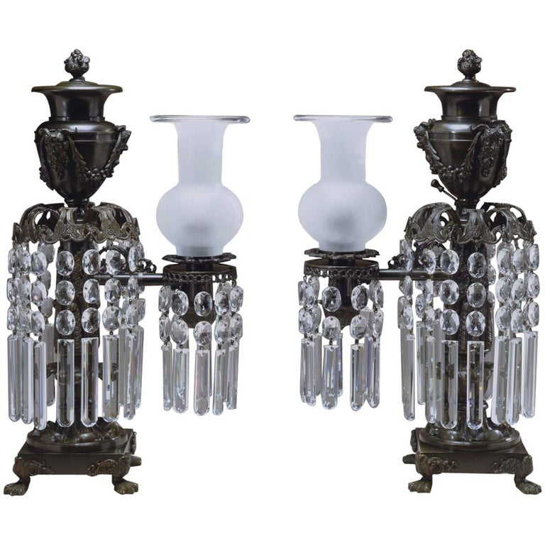 Pair of Bronze Argand Lamps For Sale