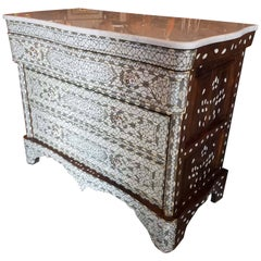 Large Syrian Mother-of-Pearl Walnut Wood Chest of Drawers, Ivory color.
