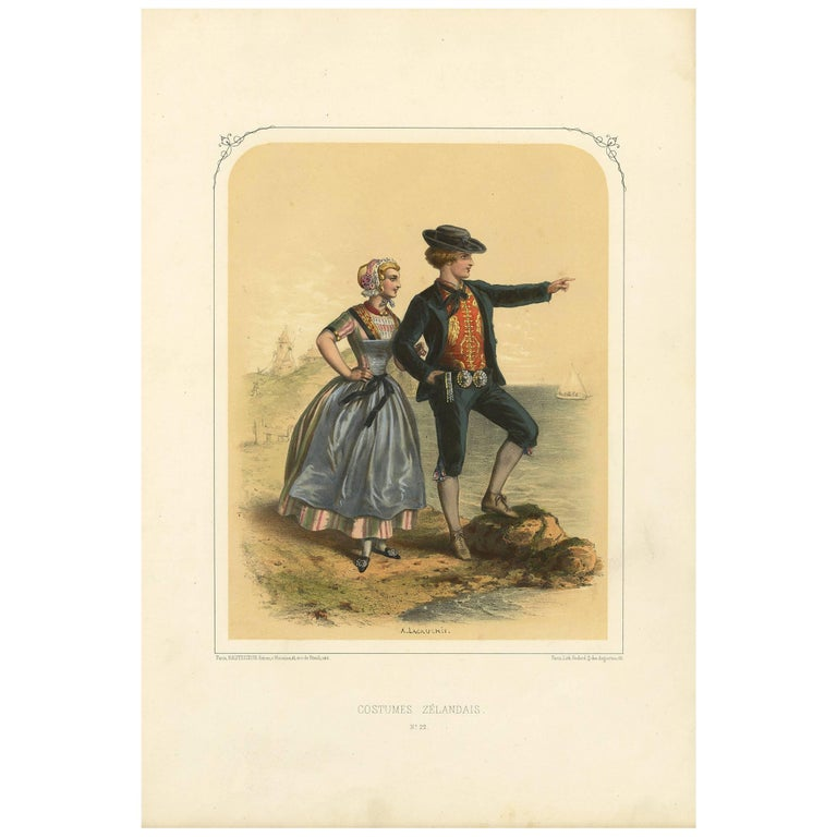 Antique Costume Print of Zealand 'The Netherlands' by A. Lacouchie, circa 1850