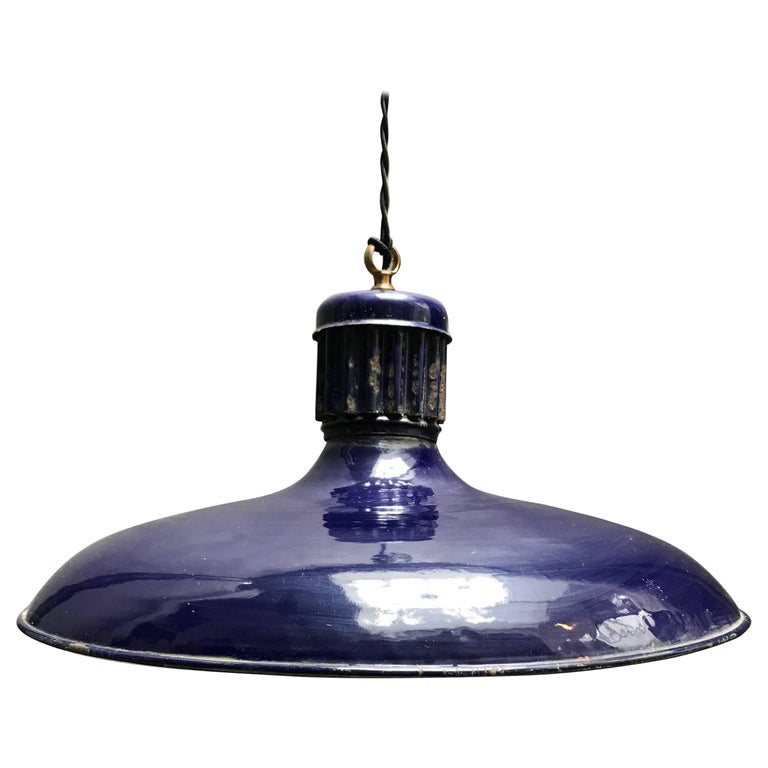 Cobalt Blue Enamel Railroad Station Pendant Light