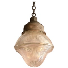 Industrial Cast Iron Holophane Glass Factory Pendant Light