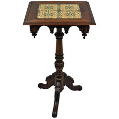 Victorian Walnut Arts & Crafts Tile-Top Renaissance Revival Pedestal Side Table