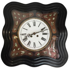 French 19th Century Ebonized and Mother-of-Pearl Inlay Wall Clock