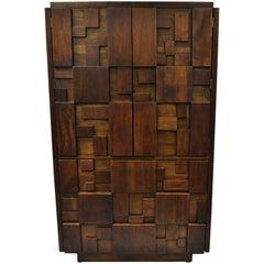 Lane Brutalist Mid-Century Modern Walnut Gentleman's Chest Wardrobe Dresser