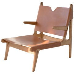 Plume Chair, Sienna Midcentury Lounge Chair in Wood, Leather