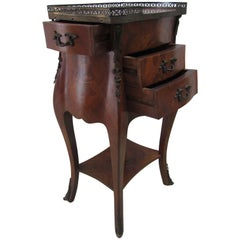 Louis XV Inlaid Bedside Table in Bois De Rose with Gilded and Chiselled Bronzes,