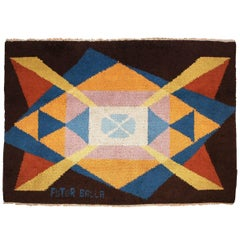 20th Century Brown Yellow Blu Geometric Giacomo Balla Limited Italian Rug, 1987