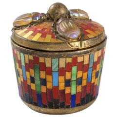 Tiffany Studios Mosaic and Gilt Bronze Box with Scarab Cover