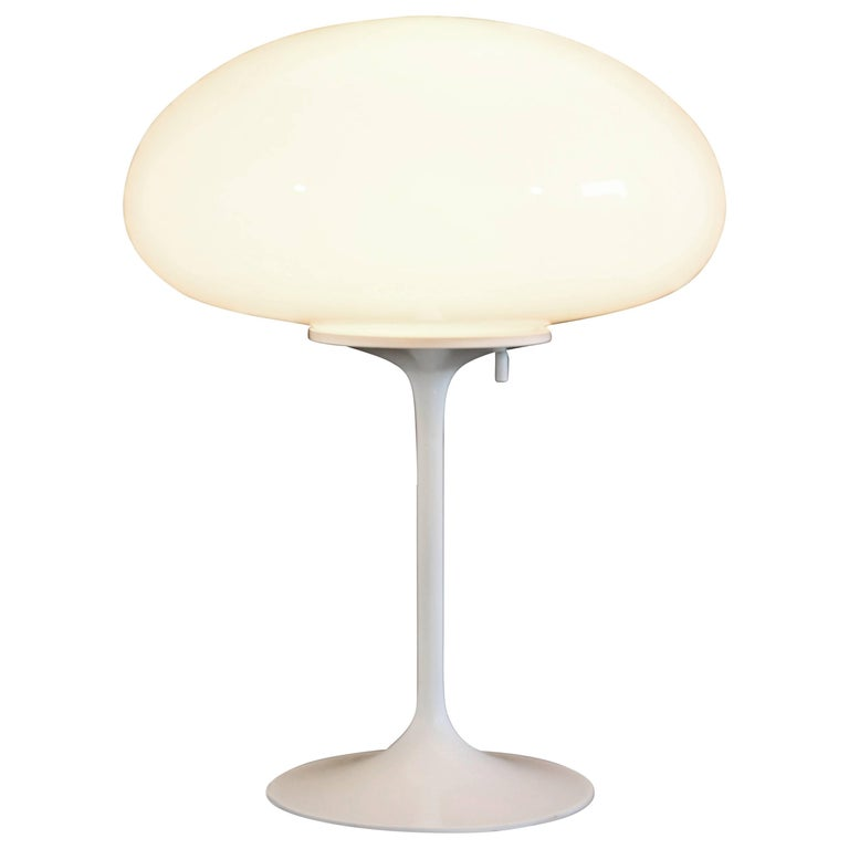 Mid-Century Modern Billy Curry for Laurel White Glass Mushroom Table Lamp, 1970s