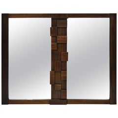 Lane Mid-Century Modern Geometric Block Brutalist Wall Dresser Double Mirror